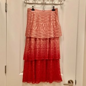 NWT Anthropologie Meave Brighton Tiered Midi Skirt